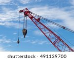 red construction crane with... | Shutterstock . vector #491139700
