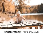 baby girl 1 year old playing in ...   Shutterstock . vector #491142868