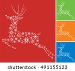 christmas  reindeer.... | Shutterstock .eps vector #491155123