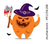 halloween monster. vector... | Shutterstock .eps vector #491156188