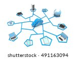 cloud computing devices. 3d... | Shutterstock . vector #491163094