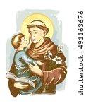 saint anthony of padua | Shutterstock .eps vector #491163676