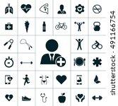 health icon set | Shutterstock .eps vector #491166754