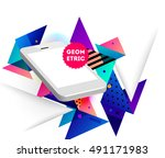 mobile phone icon with trendy... | Shutterstock .eps vector #491171983