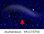 magical night with red... | Shutterstock .eps vector #491173753