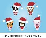 santa claus character animals   ... | Shutterstock .eps vector #491174350
