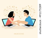 internet dating. online... | Shutterstock .eps vector #491175289