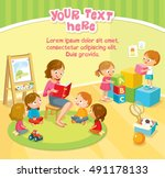 children's activity in the... | Shutterstock .eps vector #491178133