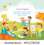 cute kids  playing and drawing... | Shutterstock .eps vector #491178220