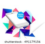 geometric background template... | Shutterstock .eps vector #491179156
