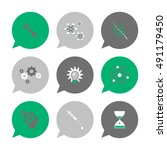 vector flat icons set   science ... | Shutterstock .eps vector #491179450