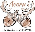 vector illustration oak branch...   Shutterstock .eps vector #491185798