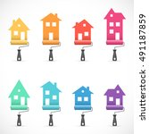 set of house renovation icons... | Shutterstock .eps vector #491187859