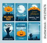 halloween card blue | Shutterstock .eps vector #491193676