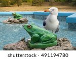 Frogs Figurine Fountain In The...