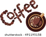 coffee design  cap and coffee... | Shutterstock .eps vector #491195158