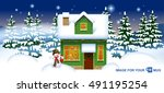 green wooden house with a... | Shutterstock .eps vector #491195254