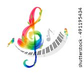 music design  treble clef and... | Shutterstock .eps vector #491195434