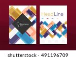 set of abstract lines... | Shutterstock .eps vector #491196709