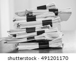 stack of business report paper... | Shutterstock . vector #491201170