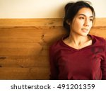 close up asian woman looking to ... | Shutterstock . vector #491201359