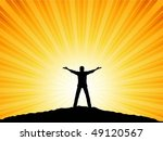man with arms raised to the sky | Shutterstock .eps vector #49120567