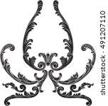 ornate black flower is on white | Shutterstock .eps vector #491207110
