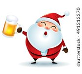 santa claus with beer  | Shutterstock .eps vector #491212270