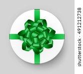 vector white round gift box... | Shutterstock .eps vector #491212738