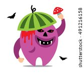 halloween monster. vector... | Shutterstock .eps vector #491216158
