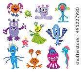 set of funny cartoon monsters.... | Shutterstock .eps vector #491227930