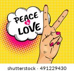 love and peace. pop art... | Shutterstock .eps vector #491229430