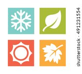 a set of four seasons icons.... | Shutterstock .eps vector #491231554