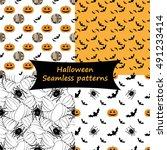 halloween collection. set of... | Shutterstock .eps vector #491233414