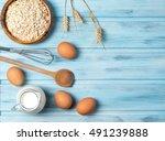ingredients for cooking  milk ... | Shutterstock . vector #491239888