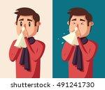 sick man. unhappy character.... | Shutterstock .eps vector #491241730