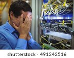 technician getting stressed... | Shutterstock . vector #491242516