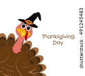 holiday turkey on thanksgiving... | Shutterstock . vector #491245483