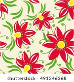 floral vintage red seamless... | Shutterstock .eps vector #491246368