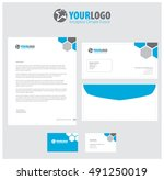 blue  set of vector corporate... | Shutterstock .eps vector #491250019