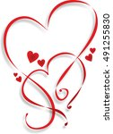 two entwined hearts as a... | Shutterstock . vector #491255830