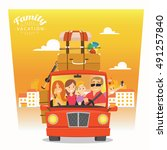 happy family goes on holiday by ... | Shutterstock .eps vector #491257840