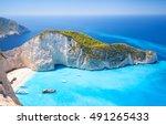 navagio bay and ship wreck... | Shutterstock . vector #491265433