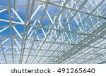 structure of steel roof frame... | Shutterstock . vector #491265640