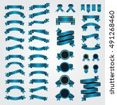 ribbons and bows. set of blue... | Shutterstock .eps vector #491268460