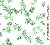 seamless pattern green leaves... | Shutterstock . vector #491269693