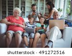 multi generation family sitting ... | Shutterstock . vector #491272516