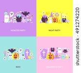 trendy halloween concepts set....   Shutterstock .eps vector #491274220