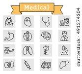 vector black line medicine and... | Shutterstock .eps vector #491274304