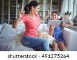 excited mother and daughter... | Shutterstock . vector #491275264